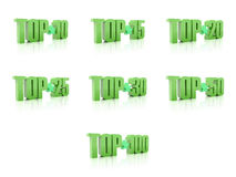 Set of Tops. Green on white background. Royalty Free Stock Photo