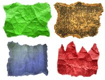 Torn crumpled paper isolated. Set of torn crumpled paper in colors isolated on a white background Stock Photo