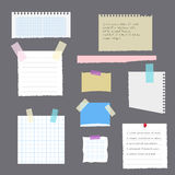Set of torn leaves with notes from a notebook, a diary or an album pasted with scotch tape. Vector, illustration in flat stock illustration