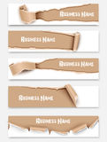 Set of torn paper banners. Vector Stock Photo
