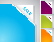 Set of torn papers with Sale sign. Royalty Free Stock Photo