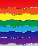 Set torn strips of paper. Elements for design seven colors of the rainbow. Royalty Free Stock Photo