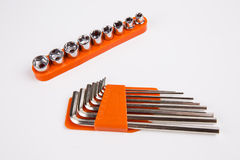 Set of torx and hexagon keys. On white background stock photography