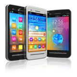 Set of touchscreen smartphones Stock Photos
