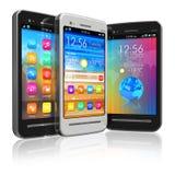 Set of touchscreen smartphones Stock Photos