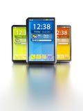 Set of touchscreen smartphones. Modern touchscreen smartphones, isolated 3d render Stock Photography