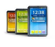 Set of touchscreen smartphones. Modern touchscreen smartphones,  3d render Stock Photography