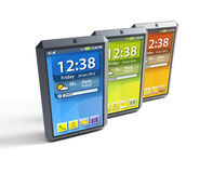 Set of touchscreen smartphones Stock Image