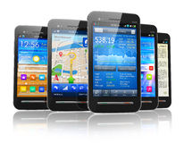 Set of touchscreen smartphones Royalty Free Stock Photo