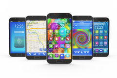 Set of touchscreen smartphones Royalty Free Stock Images