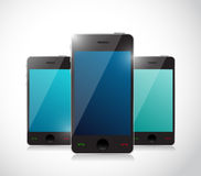 Set of touchscreen smartphones. Isolated on white background Royalty Free Stock Photography