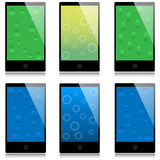 Set of touchscreen smartphones royalty free illustration