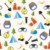 Set Tourism Camp Hike Boho Pattern Seamless Loop Stock Images