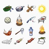 Set of tourism and camping icons Stock Images