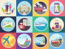 Set tourism with fast travel of the world concepts infographic. Vacation tour locations and items. Trip on the water, on Royalty Free Stock Photo