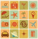 Set of 16 tourism icons. Set of 16 retro tourism and travel icons royalty free illustration