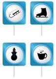 Set of tourism symbols. Icons of tourism symbols - set 5 - winter Stock Photography