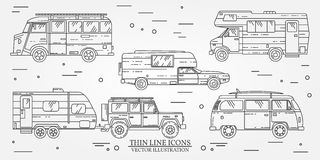 Set of Tourist bus, SUV, trailer, jeep, RV camper trailer, Traveler truck.  Summer trip family travel concept.  Thin line icon. Ve. Ctor illustration Royalty Free Stock Photos