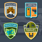 Set of tourist camping badge and label Royalty Free Stock Images