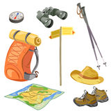 Set for the tourist, elements for hikers. Vector illustration Stock Images