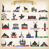 Set of tourist symbols.vector illustration. Royalty Free Stock Photography