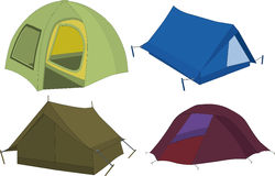 Set of tourist tents. Camping tourism Royalty Free Stock Photography