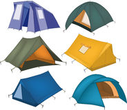 Set of tourist tents. Camping house sports travel Royalty Free Stock Photo