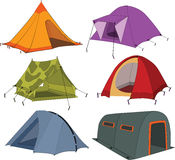 Set of tourist tents Royalty Free Stock Photos