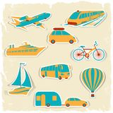 Set of tourist transport stickers Stock Photography