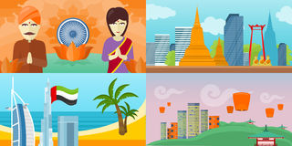 Set of touristic concept vectors in Flat Design Royalty Free Stock Photos