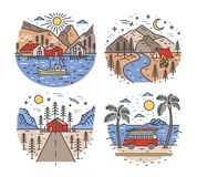 Set of touristic or travel destinations and landscapes with mountains, sea, river and forest trees. Road trip or camper. Van journey locations. Colorful vector Royalty Free Stock Image
