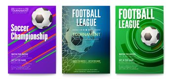 Set of tournament posters of football or soccer league. Design of banners for sport events. Template of advertising for. World championship of soccer or Stock Photos