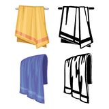 Set of towels - cartoon style and outline towels Stock Illustration
