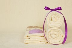 Set of the towels, decorated with a tape and soap Royalty Free Stock Image