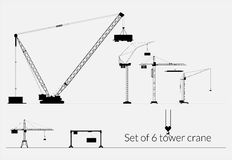 Set of tower cranes for industrial use Stock Images