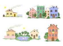 Set of  houses in  Royalty Free Stock Image