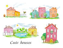 Set of town and village houses Stock Images