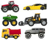 Set of toy automobiles. Set of six automobiles in toy style Stock Photography
