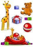 Set toy with bag for christmas Royalty Free Stock Photos
