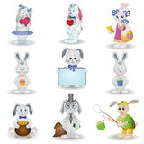 Set toy rabbits Stock Photos