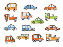 Set of toy sketches of car Stock Image