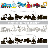 Set of toy transport. Find correct shadow. Royalty Free Stock Images