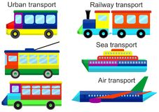 Set toy transport modes. Vector illustration. Royalty Free Stock Photos