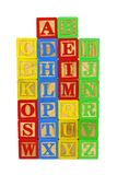 Set of toy wooden letter blocks Stock Image