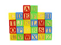 Set of toy wooden letter blocks Royalty Free Stock Images