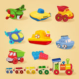 Set of toys with airplane, the submarine, truck, dump truck, helicopter, designer, train, car, ship, boat. Royalty Free Stock Image