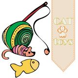 Vector cat`s toys: ball, teaser; mouse and fish royalty free illustration