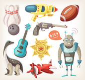 Set of toys for children. And some inventory for sports Stock Photography