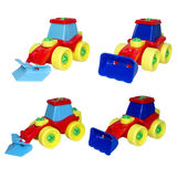 Set of toys, city machines for cleaning. Stock Photos