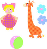 Set toys from fabric vector. Set of  vector cartoon toy Stock Photo